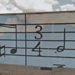 Musical note mural