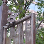 LIBRARY GARDEN GATE AND FIGURES